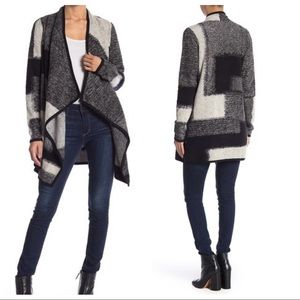 Lucky Brand Check Waterfall Cardigan Black Gray